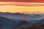 Sunset over Mountain Layers, View from Newfound Gap Road Overlook, Great Smoky Mountains National Park, NC