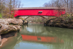 Narrows Covered Bridge, Built 1882, Reflecting in Sugar Creek, near Turkey Run State Park, Parke County, Marshall, IN