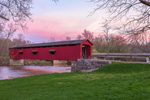 Cataract Falls Covered Bridge, Built 1876, over Mill Creek at Sunset, Cataract Falls State Recreation Area, Owen County, Cataract, IN