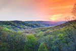 Sunset over Forests and Hills in Early Spring, Brown County State Park, Brown County, Nashville, IN