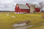 Red Barn with Quilt Painting and Old Silo, Rural Farmland near Spruce and Kelly Brook in Oconto County, WI