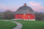 Sunrise over Ryan Round Barn at Johnson-Sauk Trail State Park , Henry County, near Kewanee, IL
