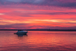 Power Boat at Sunset in Napatree Anchorage on Little Narragansett Bay, Village of Watch Hill, Westerly, RI