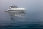Power Boat in Dense Fog in Napatree Anchorage on Little Narragansett Bay, Village of Watch Hill, Westerly, RI