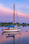 Sailboat at Sunset in North Cove, Harbor of Refuge, Connecticut River, Old Saybrook, CT