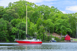Boats and Little Red Boat House in Hamburg Cove on Eight Mile River, Popular Boating Spot on the Connecticut River, Lyme, CT