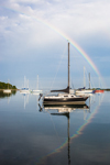 Rainbow over Sailboats with Reflections in Pine Island Bay, Groton, CT