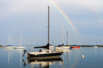 Double Rainbow over Sailboats with Reflections in Pine Island Bay, Groton, CT