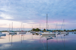 Predawn over Boats with Reflections in Calm Waters of Pine Island Bay, Groton, CT