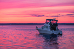 Sunset over Motor Cruiser Anchored in Little Narragansett Bay off Napatree Point, Watch Hill, Westerly, RI