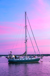 Cutter-rigged Sailboat in Watch Hill Harbor at Sunrise, Watch Hill, Westerly, RI