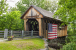 Cilleyville Bog Covered Bridge with American Flag, Andover, NH