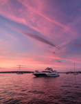 Sunset over Boats Anchored in Little Narragansett Bay off Napatree Point, Watch Hill, Westerly, RI