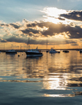 Boats in Watch Hill Harbor at Sunset, Watch Hill, Westerly, RI