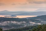 Rangeley Lake and Mountains at Sunrise, View from Rangeley Scenic Overlook, Rangeley Lakes Region, Rangeley Plantation, ME