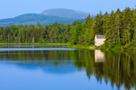 Small Cabin Reflecting in Beaver Pond in Early Morning Light, Rangeley Lakes Region, Township D, ME
