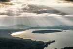 Sun Rays over Mooselookmeguntic Lake in Early Evening, View from Height of Land Overlook, Rangeley Lakes Region, Township D, ME