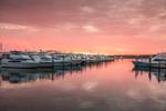 Sunrise over Sports Fishing Boats at Dock in Montauk Harbor, Montauk Yacht Club, Star Island, Long Island, Village of Montauk, East Hampton, NY