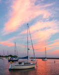 Sunset over Sailboats in Pine Island Bay, off Fishers Island Sound, Groton, CT
