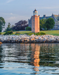 Early Morning Light Shines on Avery Point Lighthouse, University of Connecticut at Avery Point, Groton, CT