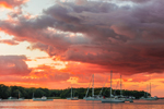 Dramatic Sunset over Boats in Lake Tashmoo, Martha's Vineyard, Tisbury, MA