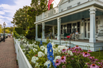 Flower Gardens and Front Porch of Stately Home, Martha's Vineyard, Edgartown, MA