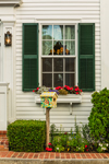 Window View with Flower Box and Decorative Bird House, Martha's Vineyard, Edgartown, MA