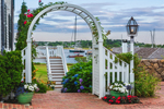 Flowers, Trellis, and Lampost with Edgartown Harbor in Background, Martha's Vineyard, Edgartown, MA