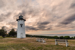 East Chop Lighthouse under Cloudy Skies in Late Evening, Martha's Vineyard, Oak Bluffs, MA