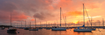 Sunrise over Sailboats in Vineyard Haven Harbor, Vineyard Haven, Martha's Vineyard, Tisbury, MA