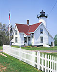 West Chop Light with White Fence and Flag Pole