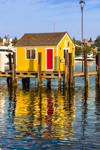 Little Yellow Dock House with Red Door on Tisbury Wharf, Vineyard Haven Harbor, Martha's Vineyard, Tisbury, MA