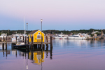 Little Yellow Dock House on Tisbury Wharf at Sunrise, Vineyard Haven Harbor, Martha's Vineyard, Tisbury, MA