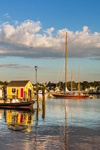 Little Yellow Dock House on Tisbury Wharf and Sailboats in Vineyard Haven Harbor, Martha's Vineyard, Tisbury, MA
