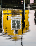 Reflections of Little Yellow Dock House on Tisbury Wharf, Vineyard Haven Harbor, Martha's Vineyard, Tisbury, MA