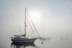 """Cutter-rigged Sailboat """"Brown Eyes"""" in Early Morning Fog, Pine Island Bay off Fishers Island Sound, Groton, CT"""