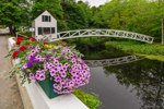 Selectmen's Building (1780) and Thaddeus Shepley Somes Memorial Bridge (1981) with Reflections and Flowers, Somesville, Mount Desert, ME