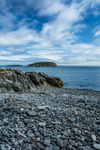 Pebble Beach at Dorr Point with View of Bald Porcupine Island, Acadia National Park, Mount Desert Island, Bar Harbor, ME