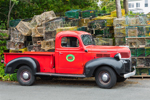 Thurston's Old Red Dodge Truck with Lobster Traps in Background, Village of Bernard, Tremont, ME