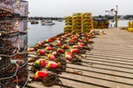 Wharf with Lobster Traps and Buoys at Thurston's on Bernard Harbor, Village of Bernard, Tremont, ME