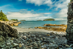 View of Porcupine Islands and Pebble Beach near Dorr Point, Acadia National Park, Mount Desert Island, Bar Harbor, ME