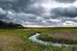 Sunrise over Salt Marsh and Tidal Creek off Majors Harbor at Mashomack Preserve, Shelter Island, NY