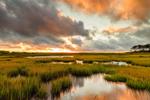 Sunrise over Salt Marsh and Tidal Pool at Mashomack Preserve off Majors Harbor, Shelter Island, NY