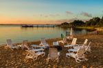 Early Morning Light on Beach Chairs at Lake Montauk, Long Island, East Hampton, NY