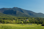 View of Mount Mansfield, Green Mountains, and Farm in Valley, Cambridge, VT