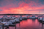 Sunrise over Boats at Dock and in Mooring Field on Connecticut River, Essex, CT