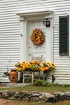 Festive Fall Flower Arrangements at Doorway to Colonial Home, Fitzwilliam, NH