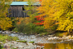 Grist Mill Covered Bridge in Fall over Brewster River, Village of Jeffersonville, Cambridge, VT