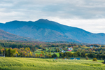 View of Mount Mansfield, Green Mountains and Farm in Valley, Cambridge, VT