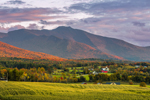 Sunset over Mount Mansfield, Green Mountains, and Valley Farmlands, Cambridge, VT